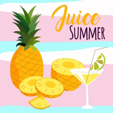summer juice advertising pineapple cocktail glass icons