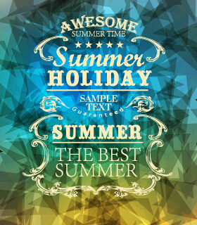 summer labels with geometric shapes background vector