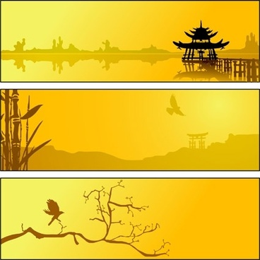 summer lake scenery silhouette vector