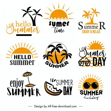 summer logo templates classical flat symbols sketch