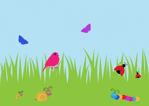 summer meadow vector illustration with cartoon style