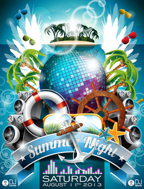 summer night posters design vector