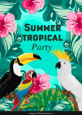 summer party banner colorful hibiscus parrot toucan decor