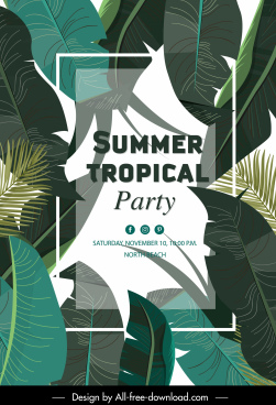 summer party banner green leaves decor classic design