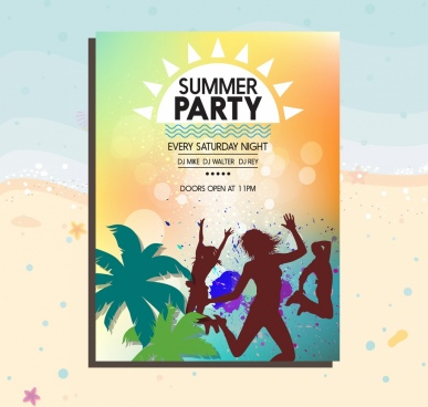 summer party banner human coconut trees silhouettes ornament