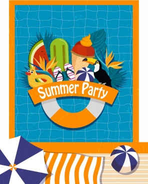 summer party banner swimming pool tropical symbols icons