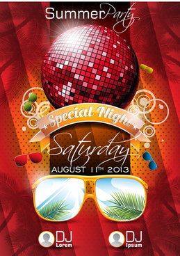 summer party design elements vector