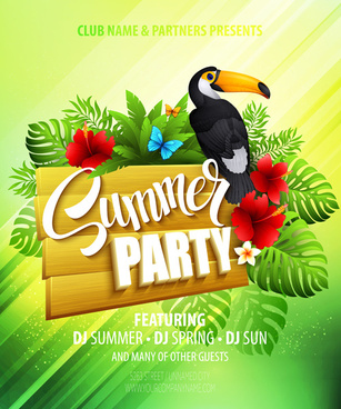 summer party flyer green style vector