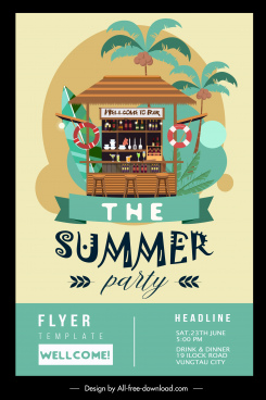 summer party flyer template colorful classic tropical decor