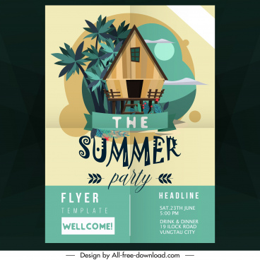 summer party flyer template cottage icon classical decor