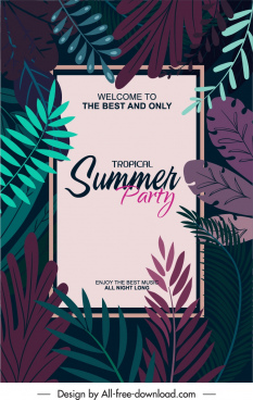 summer party poster dark classic design leaves decor