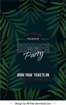 summer party poster dark design green leaves decor
