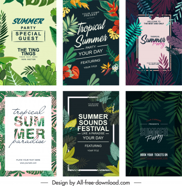 summer party poster templates classical nature elements decor