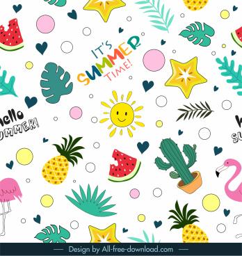 summer pattern colorful flat symbols elements decor