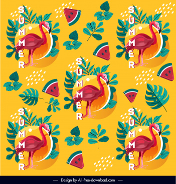 summer pattern template repeating flamingo watermelon leaf sketch
