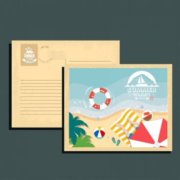 summer postcard template beach icons decoration
