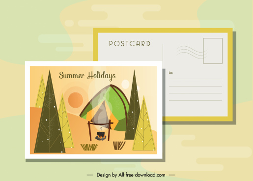 summer postcard template camping theme colorful classic decor