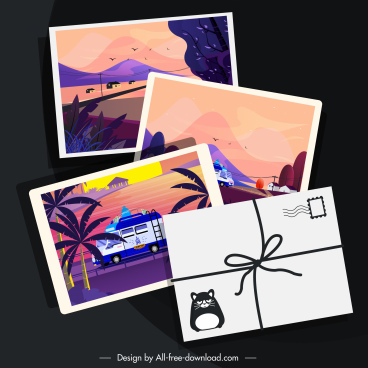 summer postcard templates scenic decor classic cartoon design