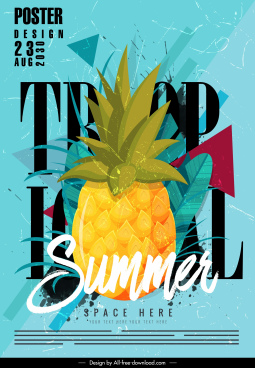 summer poster pineapple sketch colorful classic grunge decor