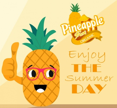 summer poster stylized pineapple icon yellow decor