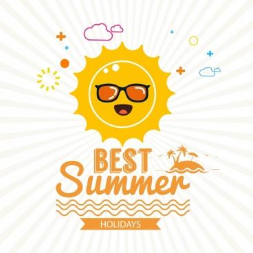summer poster stylized sun sea island icons decoration