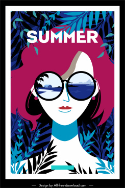 summer poster sunglasses lady leaves decor