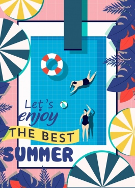 summer poster swimming pool umbrella icons flat design
