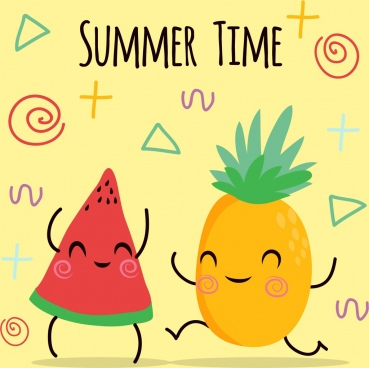 summer poster watermelon pineapple icons cute stylized design