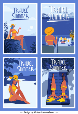summer posters templates bikini girl sea scene sketch