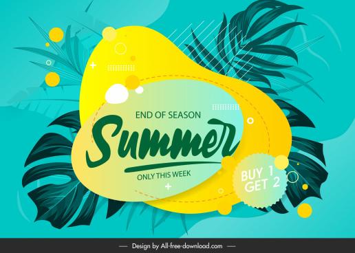 summer sale banner classical leaves sketch flat design