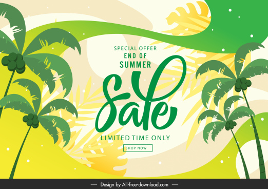 summer sale banner coconut trees sketch colorful flat