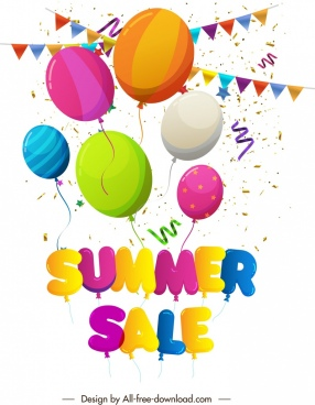summer sale banner colorful balloons ribbon confetti decor
