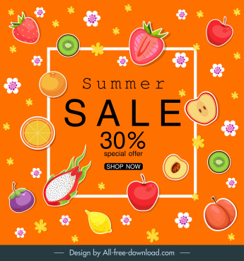 summer sale banner colorful flat fruits flora decor