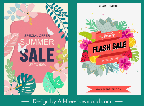 summer sale banner colorful flowers leaves decor