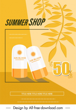 summer sale banner cosmetic leaves sketch