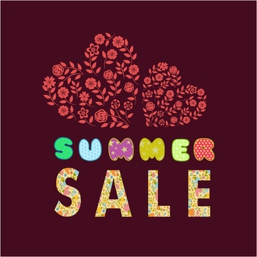 summer sale banner design with cute hearts style