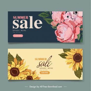 summer sale banner elegant classic petals handdrawn design