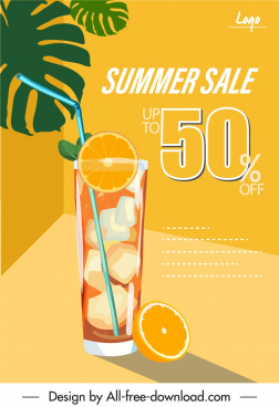 summer sale banner fruit juice decor