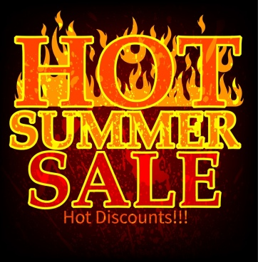 summer sale banner red flame decoration