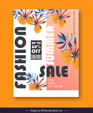 summer sale banner template classical fruit leaves decor
