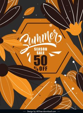 summer sale banner template dark classic flat petals