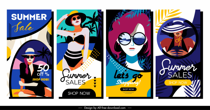 summer sale banners dark colorful stylish girls sketch