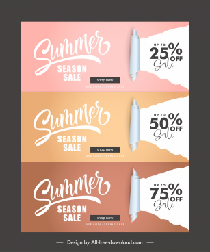 summer sale banners horizontal shape 3d ragged paper