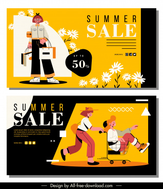 summer sale banners shoppers sketch colorful cartoon design