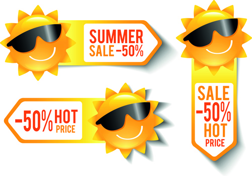 summer sale discount stickers with sun vector