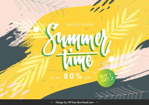 summer sale poster flat leaves grunge classic decor