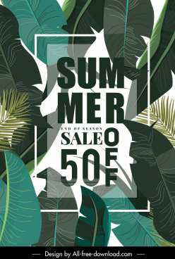 summer sale poster luxuriant leaves decor