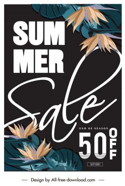 summer sale poster template dark classic floral decor