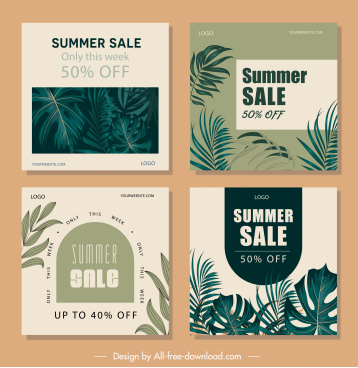 summer sale poster templates dark classical leaves decor