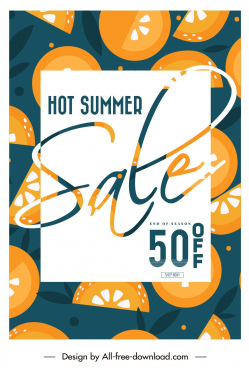 summer sales banner retro flat orange decor